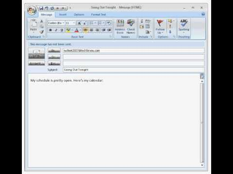 Send Calendar by Email with Outlook 2007