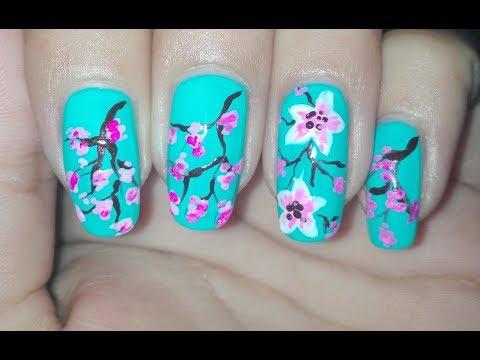 Cherry Blossom Nail Art Tutorial (Collaboration with PrincessRaaz): Spring Nail Art Design