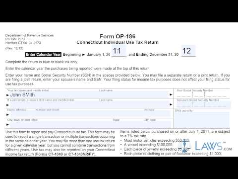 Form OP 186 Connecticut Individual Use Tax Return