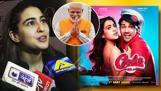 Sara Ali Khan Reaction On PM Narendra Modi Supports Her Film Coolie No. 1 | Varun Dhawan