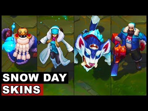 All Snow Day Skins Spotlight Syndra Graves Bard Gnar Malzahar Ziggs Singed (League of Legends)