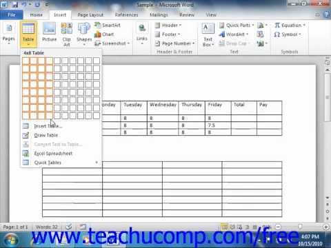 Word 2010 Tutorial Creating Tables Microsoft Training Lesson 16.2