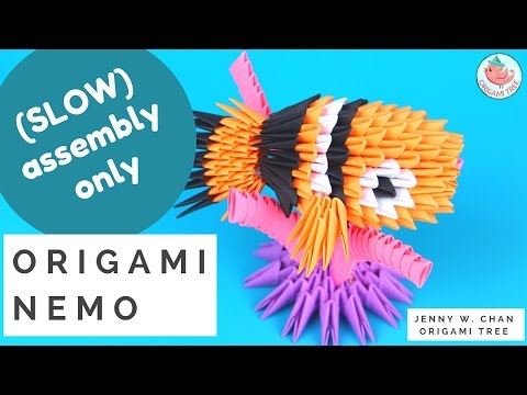 3D Origami Nemo (SLOW ASSEMBLY INSTRUCTIONS) - Origami With 3D Triangle Pieces