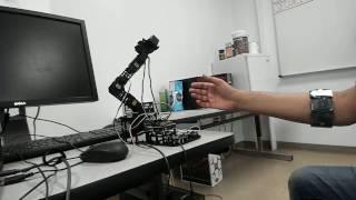 Controlling Arduino based Robotic Arm through EMG data using MYO Band