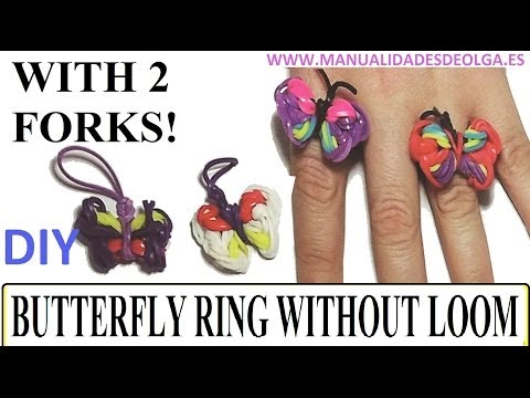 How to make a butterfly Ring with 2 forks. Without rainbow loom. rubber bands butterflies charms