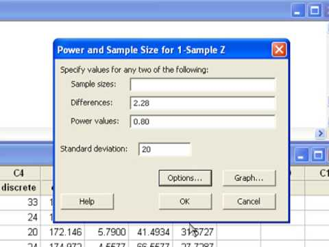 09 Power and Sample Size for One Mean in Minitab
