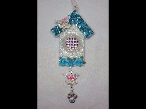 DIY~Gorgeous Shabby Chic Birdhouse Christmas Ornament!