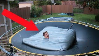 TRAMPOLINE VS WATERBED!