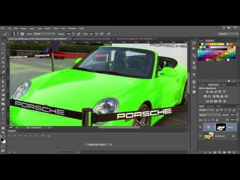 Photoshop 2017 Changing color on car Porsche replacing color PS Tutorial 2017 Photoshop