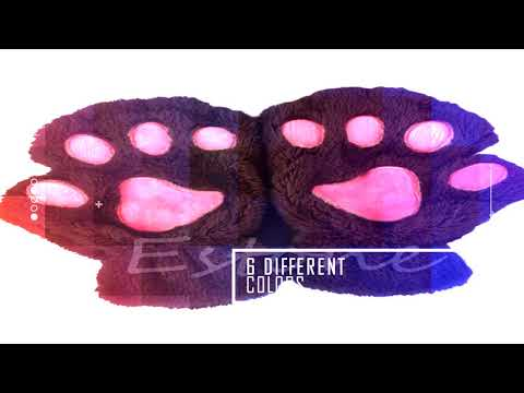 Cat paw gloves - cute cat claw bear paw style winter plush fingerless gloves mitten