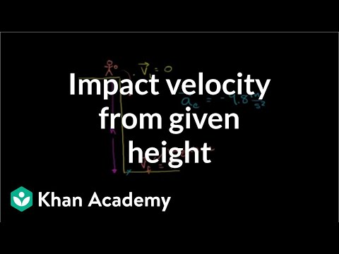 Impact velocity from given height | One-dimensional motion | Physics | Khan Academy