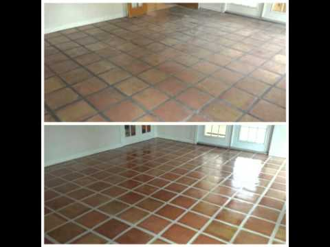 Mexican Tile Cleaning, Stripping, Grout Color Sealer, and New Clear Sealer