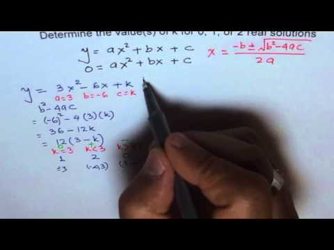 Find Values of K For Different Number of Solutions To Quadratic Equation