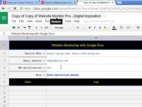 Monitor Website Uptime Using Google Docs
