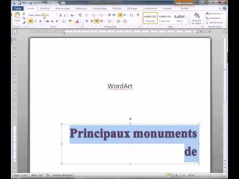 Word 2010 : Insererobjet WordArt arrondir