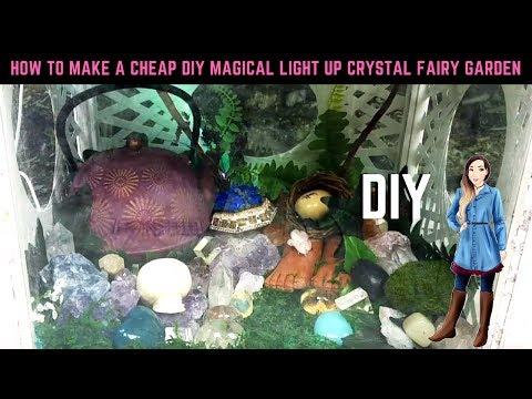 HOW TO MAKE A CHEAP DIY Magical LIGHT UP Crystal Fairy Garden Terrarium