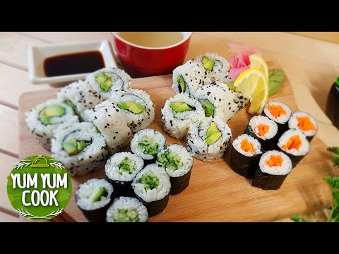 Cucumber, Avocado, and Carrot Sushi Rolls | How to Make Vegetable Sushi Roll | YumYumCook