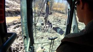 Sinkhole Almost Swallows the Excavator!