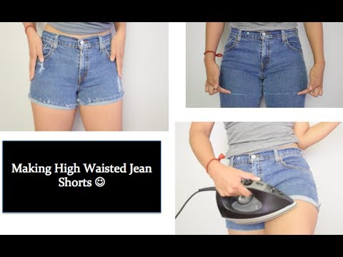 DIY: Turn your thrifted high waisted jeans into shorts :) plus distressing