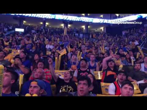 #Warriors fans giving it their all at viewing party at Oracle Arena.