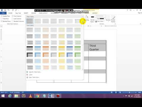 How to build a table in MS Word