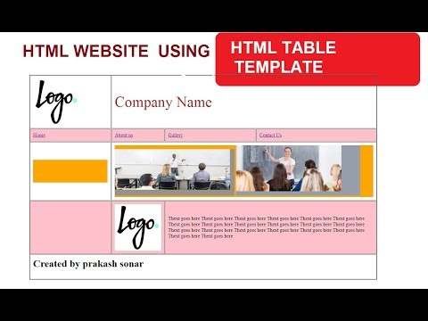 HTML WEBSITE TEMPLATE USING TABLE | CREATE WEBSITE USING TABLE TAG | TABLE TEMPLATE