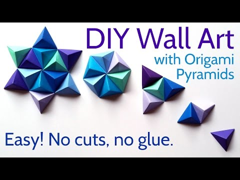 DIY Paper Wall Art with Origami Pyramid Pixels - Easy Tutorial and Decorating Ideas