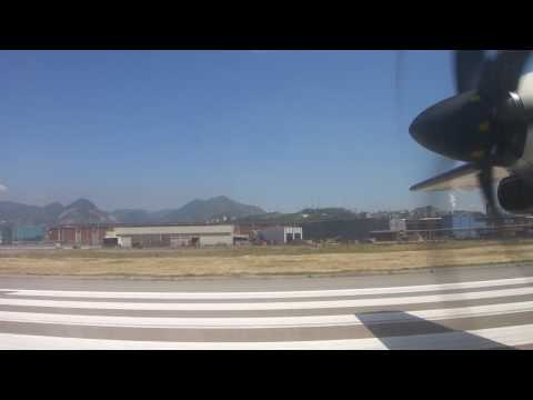 Air Dolomiti ATR72 take off from Genova Italy on Fine day
