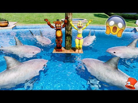 GUESS IF WITHERED FREDDY & CHICA CAN SURVIVE THE SHARK POOL! (GTA 5 Mods For Kids FNAF RedHatter)
