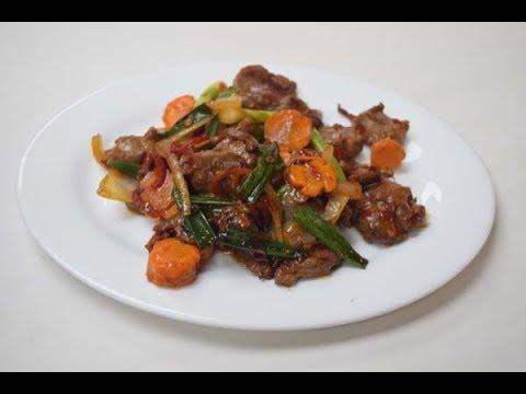 Stir fry lamb chilli bean sauce