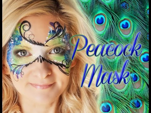 Peacock Feather Inspired Masquerade Mask Makeup Face Painting Tutorial