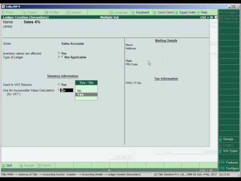Multiple VAT in Tally ERP-9