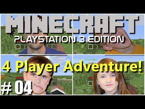Minecraft PS3 Edition: 4 Player Adventure - #4 Building Begins!!(Family Multiplayer)