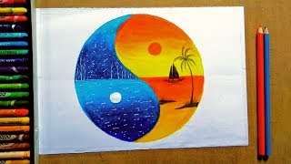 A Sunset Ft Moonlight Scenery Drawing With Oil Pastel For Beginner