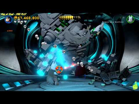 Lego Batman 3 Beyond Gotham: Man of Steel (DLC) FREE PLAY (All 10 Minikits) - HTG