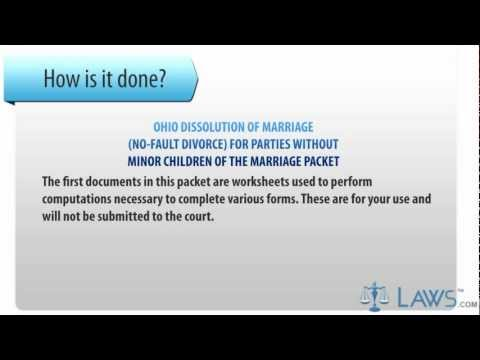 Ohio Dissolution Of Marriage No-Fault Divorce For Parties Without Minor Children