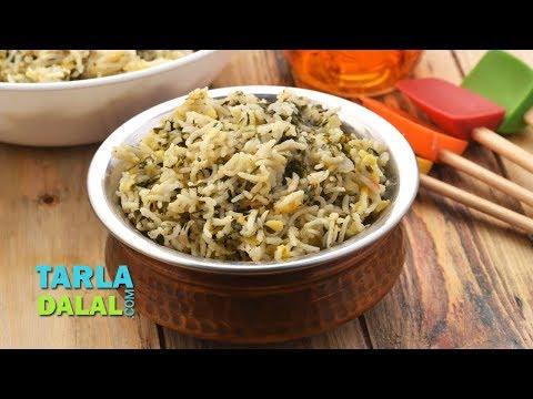 Palak Pulao, Palak Rice, Spinach Rice by Tarla Dalal