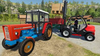 Beets and Potatoes in Crates - Small Tractor, Forklift and Blue Combine Harvester Harvesting | LS19