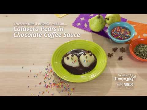 Recipe: Calavera Pears in Chocolate Coffee Sauce