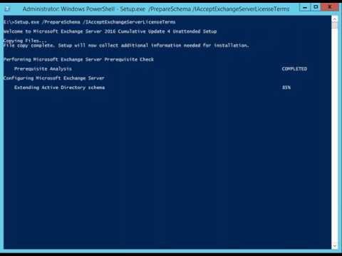 Extend the Active Directory schema Prep for Exchange 2016