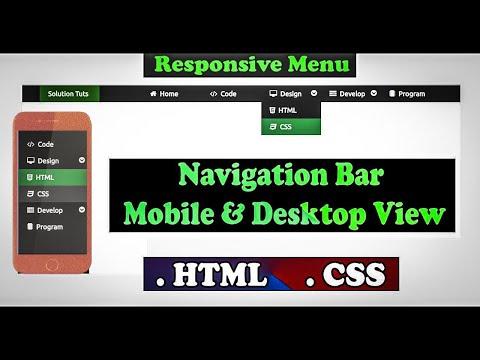 Build a Responsive Navigation Menu Dropdown bar   HTML CSS   Web Design   Menu