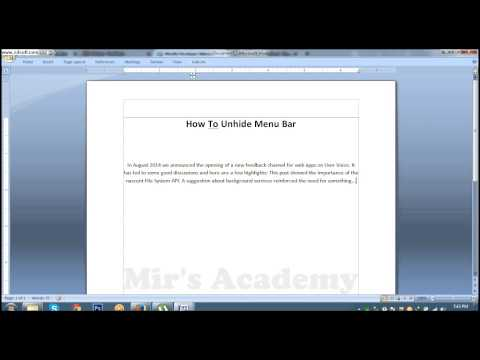 How To Unhide Menu Bar In MS Word 2007 #Lesson 41