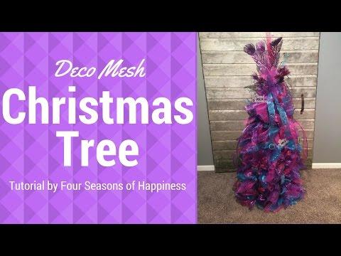 Part 2 deco mesh tomato cage Christmas tree, Christmas tree