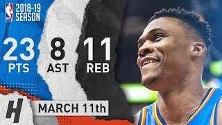 Russell Westbrook Full Highlights Thunder vs Jazz 2019.03.11 - 23 Pts, 11 Reb, 8 Ast!