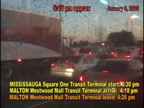 (timed transit test) MISSISSAUGA SQUARE ONE TERMINAL to MALTON WESTWOOD MALL TERMINAL (and RETURN)