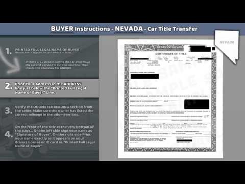 Nevada Title Transfer Car Buyer Instructions