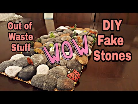 How To Make Fake Stones Table Mat| Best Out Of Waste Stuff Room Decor Idea: