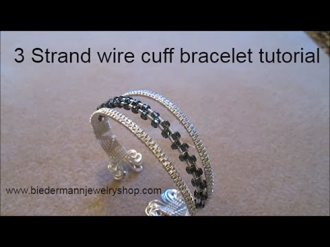 3 Strand Wire cuff bracelet with beads
