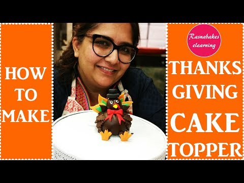 how to make thanksgiving cake cupcake topper :cake decorating turkey 3d fondant topper