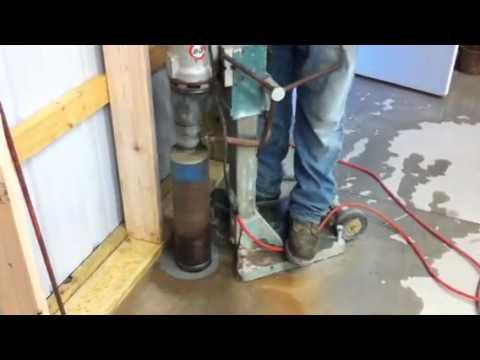 Drilling holes in concrete floor